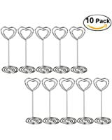 Pixnor 10pcs Heart Swirl Table Number Photo Holder Stands for Weddings and Other Occasions