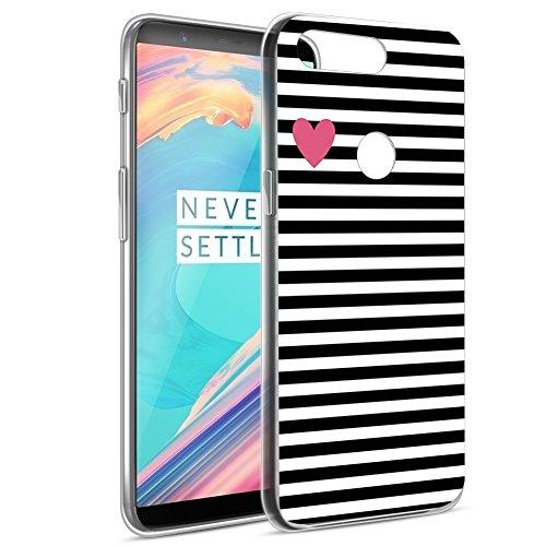 Eouine OnePlus 5T Hülle, Ultra Slim Soft TPU Muster SchutzHülle Silikon Stoßfest Bumper Case Cover für OnePlus 5T (6 Zoll) Smartphone (Streifen Schwarz)