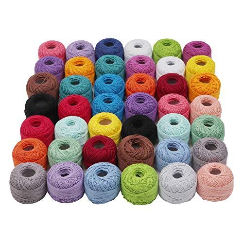 Häkelgarn aus Baumwolle - 42 Rollen Häkelfaden mit 2 Pcs Häkelnadeln - Baumwollgarn zum Häkeln und Stricken - Baumwollfaden für Muster, Strickprojekte - Strickgarn Sortiment an Farben -