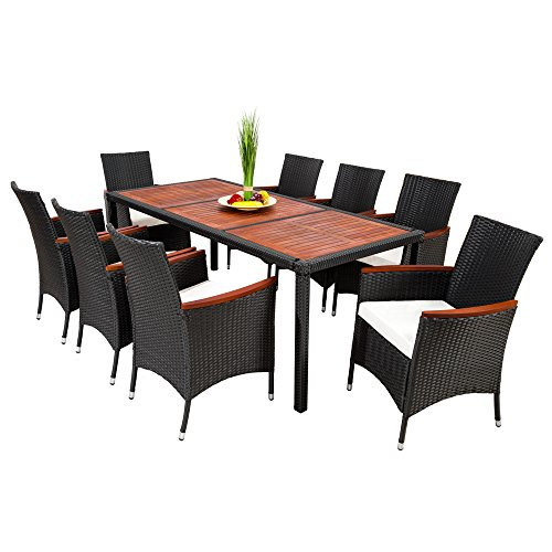 Tectake 8 chairs 1 table luxury rattan garden furniture for Luxury garden furniture