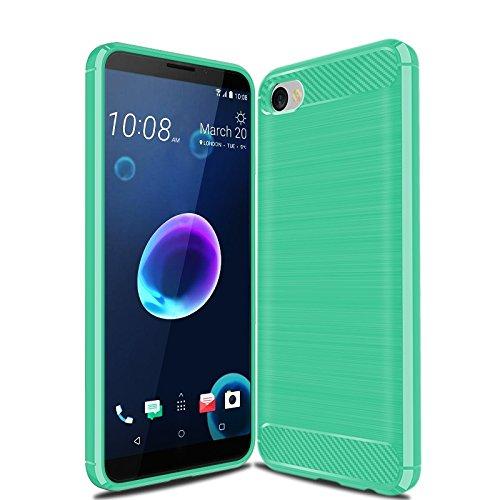 CruzerLite HTC Desire 12 hülle, Carbon Fiber Shock Absorption Slim TPU Cover Schutzhülle für HTC Desire 12 (Teal)
