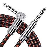 NEUMA Gitarrenkabel Instrumentenkabel, 1/4 Gerade bis Rechtwinklig 6.3mm Kabel für E-Gitarre, Bassgitarre, Elektrische Mandoline (5M/16.4ft)