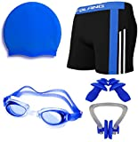 #10: Golden Gril Swimming Kit (Goggles, Cap, Ear Plug, Nose Clips, With Authentic Men Adult Swim Trunks) Free Size For : S,M,L,XL, - 26,28,30,32,34 & 36 Waist Size