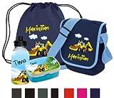 Kindergartentasche als SET (Set besteht aus: Tasche, Turnbeutel, Brotdose, Trinkflasche) mit Namen und Motiv Bagger
