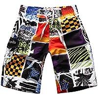 XiYunHan Pantalones de playa personalidad de verano imprimir pantalones de playa hombres sueltos pantalones casuales de moda de los hombres cinco puntos par correr pantalones (Color : 10)