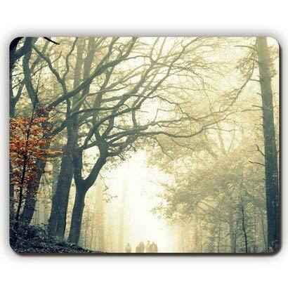 Qualitäts-Mausunterlage, hölzerner Nebel-Baum verlässt gelben Herbst schrecklich grässlichen Unterschied, Spiel-Büro-Mausunterlage Herbst Nebel