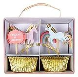 Muffinset, Backset, Cupcake Set Regenbogen Einhorn von Meri Meri