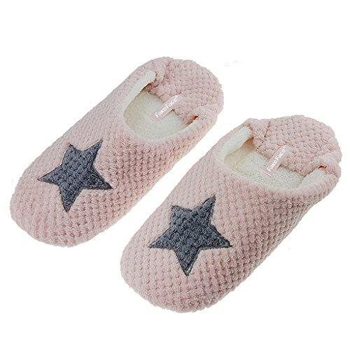 Fortuning's JDS Unisexe Adultes Couple Amour-coeur & Étoile agréable Chaussons Pantoufles confortables Chaussures en peluche Rose