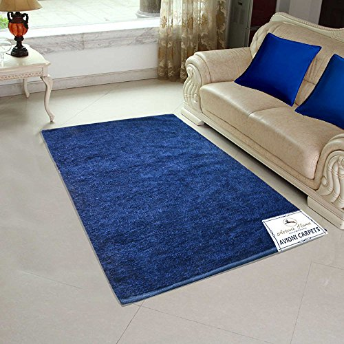 Avioni Handloom Rugs For Living Room Solid Colors Blue-3 Feet X 5 Feet