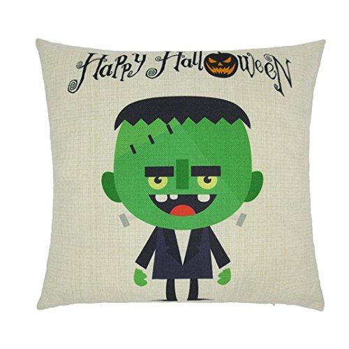 Kissenbezug Halloween,Hansee® Baumwoll Leinen Karikatur Kissenbezug Fall Sofa Bed Home Dekor (Karikatur (Halloween Bezug)