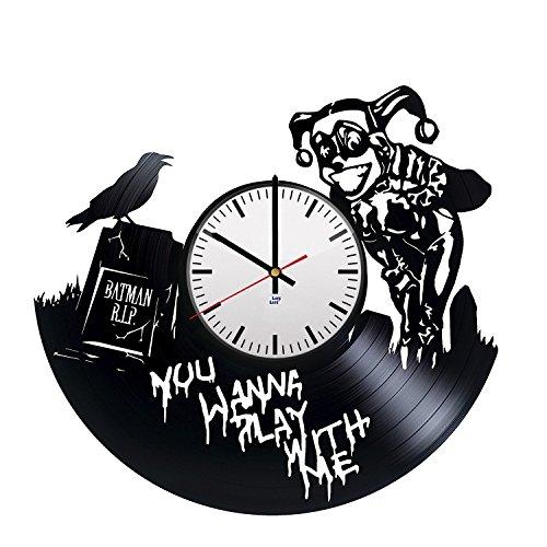 Vinyl-Wanduhr mit Harley Quinn-Figur Design - Einzigartige Heimwand-Dekoration - originelle Geschenkidee für Männer und Frauen - Exklusive Comic-Superhelden-Fan-Art ()