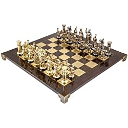 Large Greek Roman Army Metal Chess Set by Manopoulos