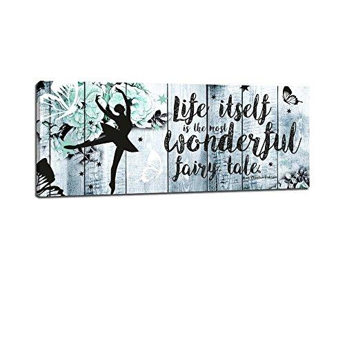 Dalinda® XXL-Wandbild Life is a fairytale… Leinwand Leinwandbild mit Spruch 100x40cm Keilrahmenbild Kunstdruck Wandbild Panorama Leinwandbild LS132