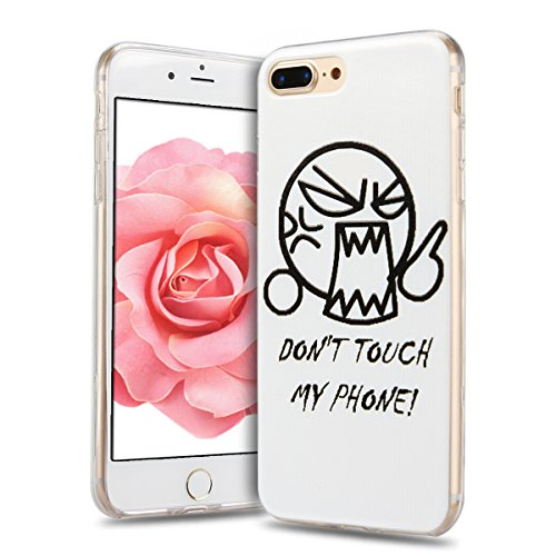 iphone 7 Plus Hülle, E-Lush Mode Muster TPU Hülle für iphone 7 Plus (5.5 Zoll) [Kratzfeste, Scratch-Resistant] Weiche Flexible Silikon Handyhülle Clear Transparent Tasche Ultra Dünne Schutzhülle Durch Don't Touch My Phone