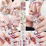 semen 5 Blätter Nail Sticker Nagel Weihnachten Motiv Cartoon Santa Claus Weihnachtsbaum Schneeflocken Rot Nagelaufkleber DIY Schimmer Dekorationen Selbstklebende Aufkleber Tattoo Nail Art