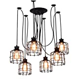 GRFH E27 6-Head Retro industriale Loft Interni Tetto soffitto appeso filo di ragno Lampadari metallo lunga gabbia Chandelier Lighting