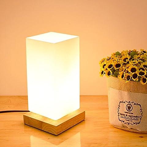 SHDT Moderne einfache Holz Tischlampe mit rechteckigem Glas Lampenschirm Schreibtisch Lampe Kinder Nachttisch Lichter