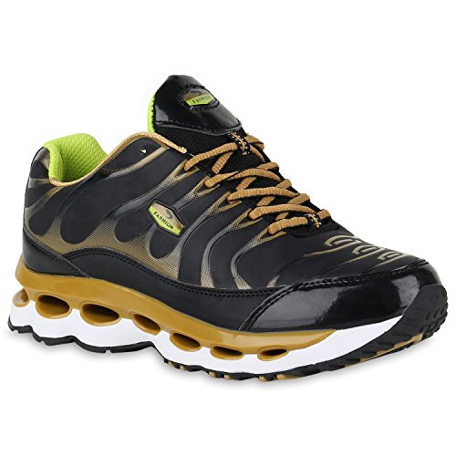 Damen Sneakers Runners Sportschuhe Laufschuhe Profilsohle Schwarz Gold