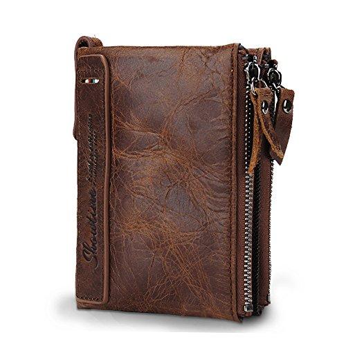 Herren Portemonnaie aus Rindleder Geldbörse Kreditkartenetui Bifold Brieftasche Vintage Geldbeutel (Herren-geldbörse Bi-fold)