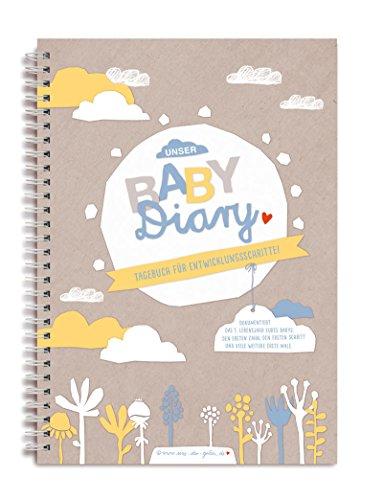 Babytagebuch Baby Diary, zum selbst Eintragen, mit Entwicklungsschritten für das erste Lebensjahr, Geburtsgeschenk für Jungen und Mädchen, A5 Spiralbindung