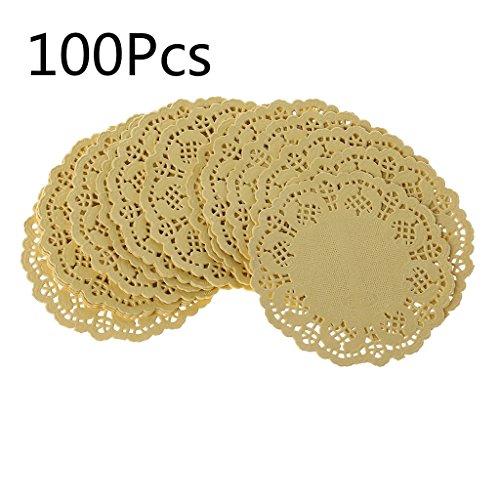 ZOOMY 100 Stück Bunte Spitze Papier Matten Tasse Platten Untersetzer Tischsets Pad Hochzeit Veranstaltungen Party Tisch Geschenk Dekoration - Gelb