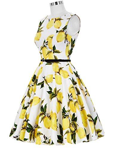 GRACE KARIN Vestito anni '50 Donna Elegante Cerimonia Cocktail Floreale Abito in Cotone A-Line Stile Vintage Anni'50 Audrey Hepbun XS~Taglie Forti 4X Floral-31