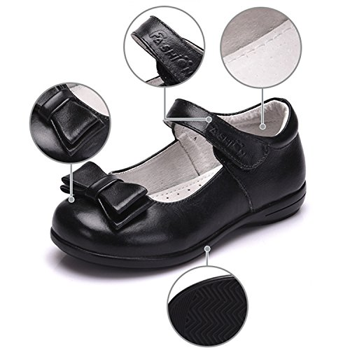 Oasap Girl's Velcro Bow Party Mary Jane Shoes Black