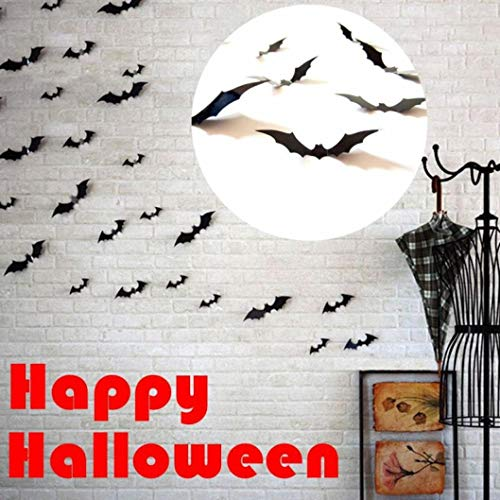 BZLine Halloween Wandaufkleber, 5 Sätze / 60 Stück Schwarz 3D DIY PVC Fledermaus Wandaufkleber Aufkleber Home Halloween Dekoration (Aufblasbare Outdoor-halloween-dekoration)
