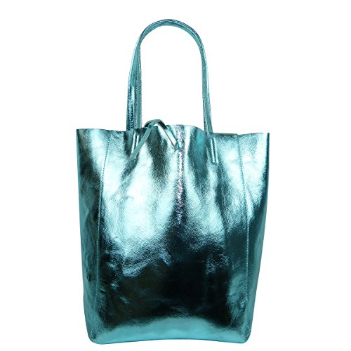 FreyFashion - Made in Italy, Borsa tote donna Aqua Metallic