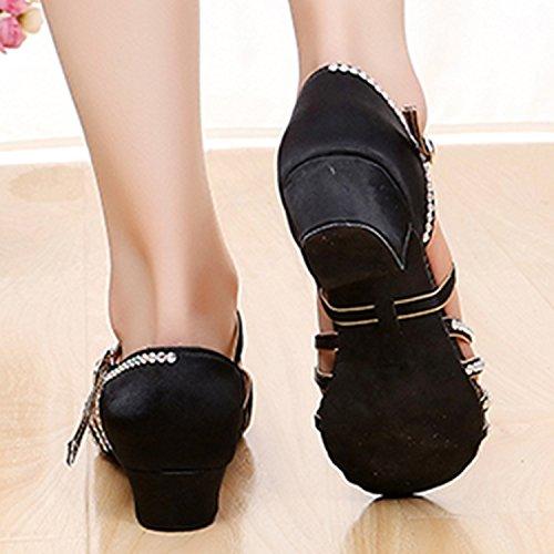 Oasap Girl's Rhinestone Low Heels Latin Dance Shoes Black