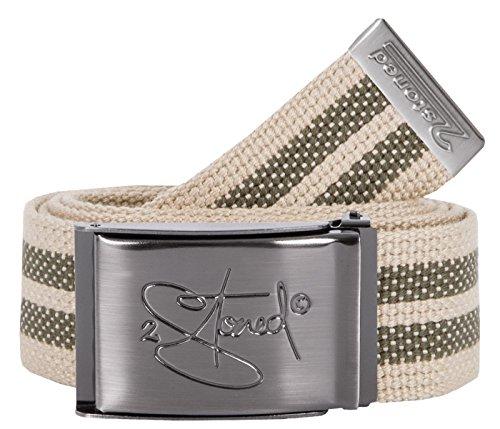 2Stoned Gürtel Canvas Belt Beige-Olive, matte Schnalle Classic, 4 cm breit, Stoffgürtel für Damen und Herren
