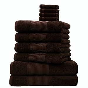 Liness 10 tlg Handtuch-Set 4 Handtücher 50x100 cm 2 Duschtücher Badetücher 70x140 cm 4 Waschhandschuhe 16x21 cm 100% Baumwolle braun