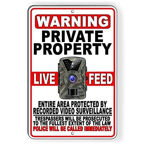 Tiukiu Private Property Trail Camera Live Feed Video Recording Metal Sign -
