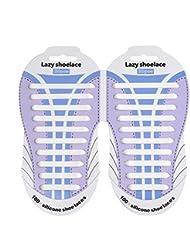 Cordones Silicona para Zapatillas - Impermeables Silicona EláStico CordóN de Zapato para Adultos y NiñOs - Sin Lavado para Zapatillas HaoXuan ( Blanco)