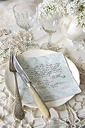 20 Servietten Papierservietten Napkin -Text- 33 x 33 cm creme pastell-minze Landhaus Nostalgie Vintage Shabby von Jeanne d'Arc Living