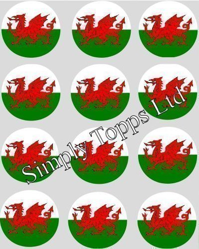 12-welsh-flag-rice-paper-fairy-cup-cake-40mm-toppers-pre-cut-decoration-wales-dragon-made-by-simply-