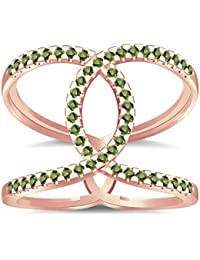 Silvernshine Halo Twist Green Peridot CZ Diamonds Engagement Ring 14k Rose Gold PL Bridal Ring