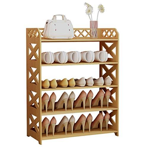 Schuhregal Einfache Montage Haushalt 5 Schicht Schuhschrank Multifunktionale Wirtschafts Schuhregal Platzsparend Hohe 80 cm × Breite 60 cm (natürliche Farbe)