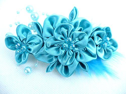 Haarspange Haarschmuck Abi Ball Feste Party Haarblume Damen mit Perlen und Federn in Türkis