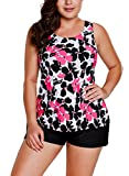 HAPPY SAILED Damen Elegant Zweiteilig Tankini Set Push Up Bademode Oberteil Mit Short Rosig M