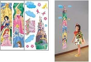 ENFANTS STICKERS MURAUX princesse HAUTEUR MESURE FICHE DE CROISSANCE AUTOCOLLANTS FILLES CHAMBRE DE MUR CHAMBRE DECOR Décoration Sticker Adhesif Mural Géant Répositionnable (2 FEUILLES EN 1 SET)