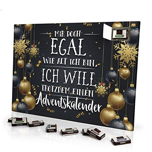 printplanet - Adventskalender Mir doch Egal wie alt ich Bin, ich Will trotzdem einen Adventskalender - mit Sarotti Schokolade - Witziger Schoko-Adventskalender mit Spruch - 2019