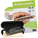 CASCHA HH 2058 Master Edition Blues Harmonica High-Quality Harmonica in C Major with Soft Case and Cleaning Cloth Set with text book Black