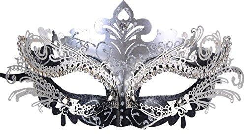 Frauen Laser Schnitt Metall Venetianische Maske Maskerade Clown Abend Abschlussball Maskenball Masken (Silber/Schwarz)