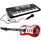 Combo Of 37 Key Piano Keyboard Toy With DC Power Option, Recording And Mic With Musical Guitar With Light And Sound For Kids