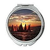Yanteng Spiegel, Compact Mirror, Strand Vogelperspektive Boote, Taschenspiegel, Tragbare Spiegel
