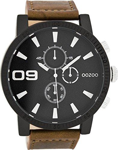 Oozoo Herrenuhr mit Lederband 51 MM Schwarz/Braun C7867