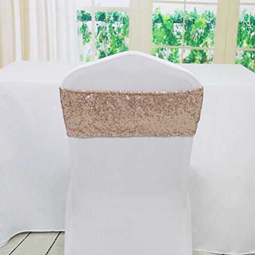 TRLYC Spandex Stuhl Pailletten Schärpen für Hochzeit Party Bankett Custom jeder Größe und Farbe 6x17 Rose Gold