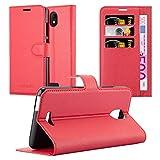 Cadorabo Hülle für WIKO View GO - Hülle in Karmin ROT - Handyhülle mit Kartenfach und Standfunktion - Case Cover Schutzhülle Etui Tasche Book Klapp Style