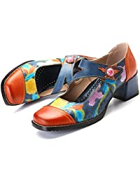 gracosy Zapatos de Cuero de Tacón Bajo de Mujer Merceditas Zapatos de Salón de Cuero Mocasines de Cuero Hechos a Mano Zapatos Planos Ocasionales Cómodos Gancho y Moño Mocasines de Trabajo Zapatillas